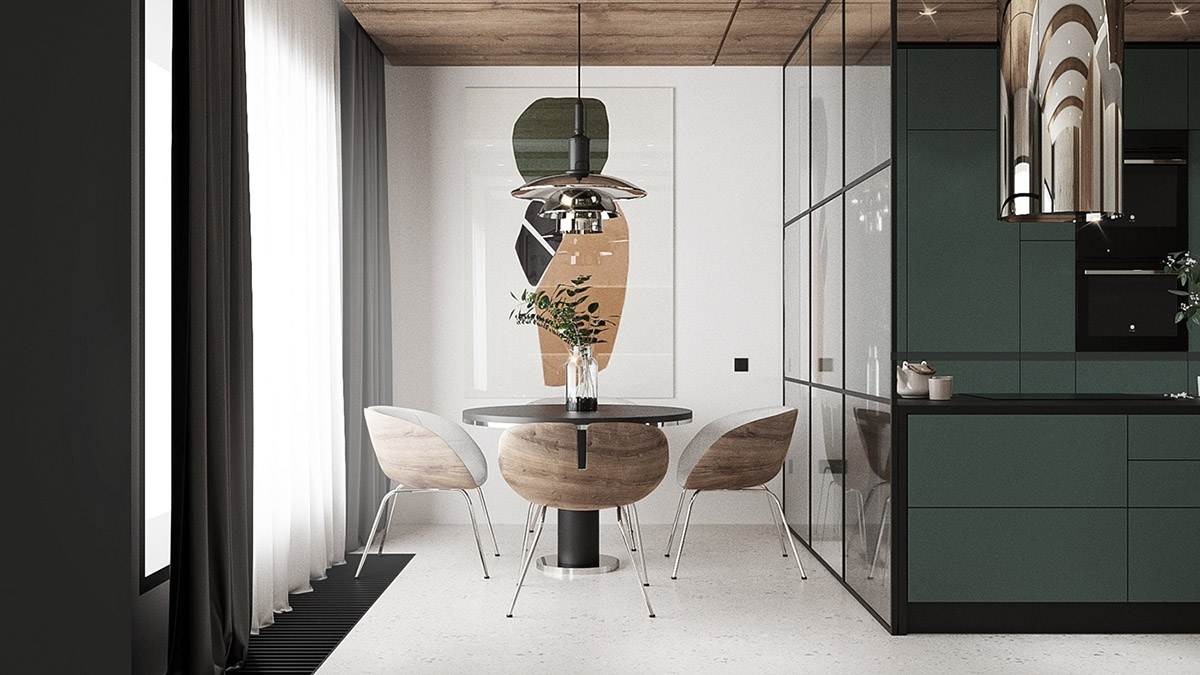 Kích thước nhỏ gọn của bàn ghế cộng với vách ngăn kính ở giữa bếp và bàn ăn mang đến một nơi thưởng thức bữa sáng tuyệt vời cho chủ nhà