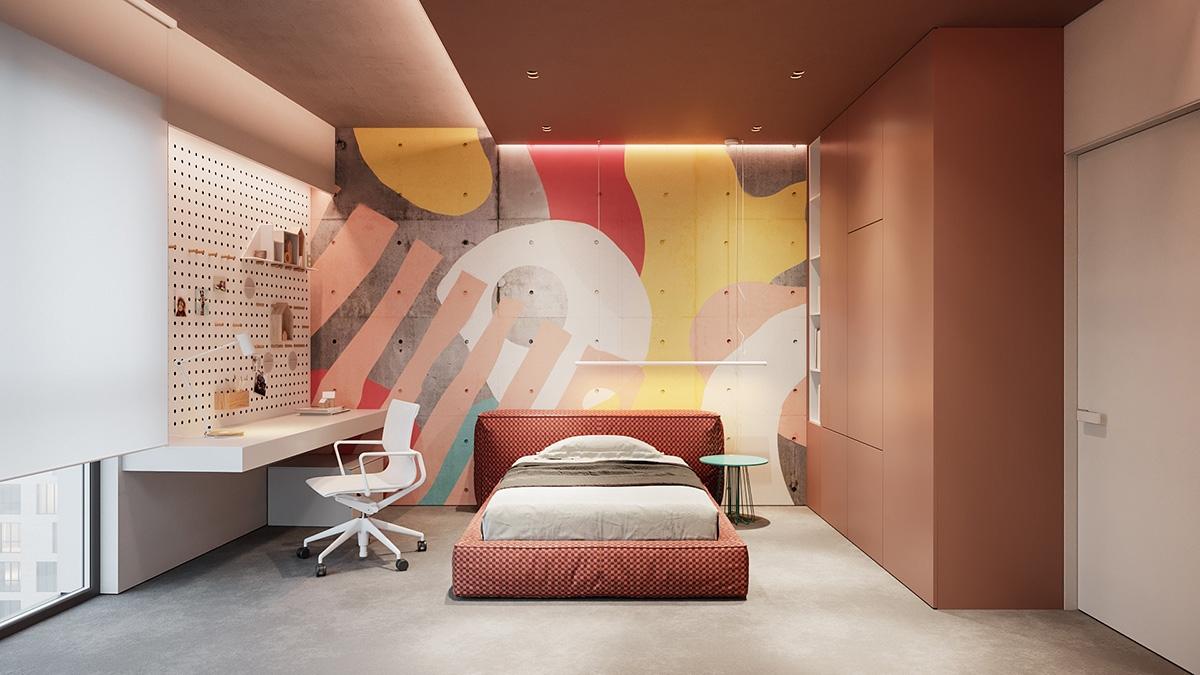 Trong khi căn phòng này lại có cách trang trí tường vô cùng sáng tạo