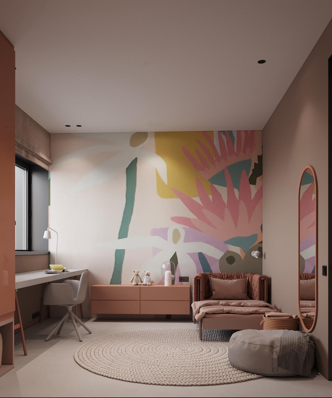 Bức tranh hoa nằm trên tường là chủ đề chính để trang trí phòng ngủ màu hồng