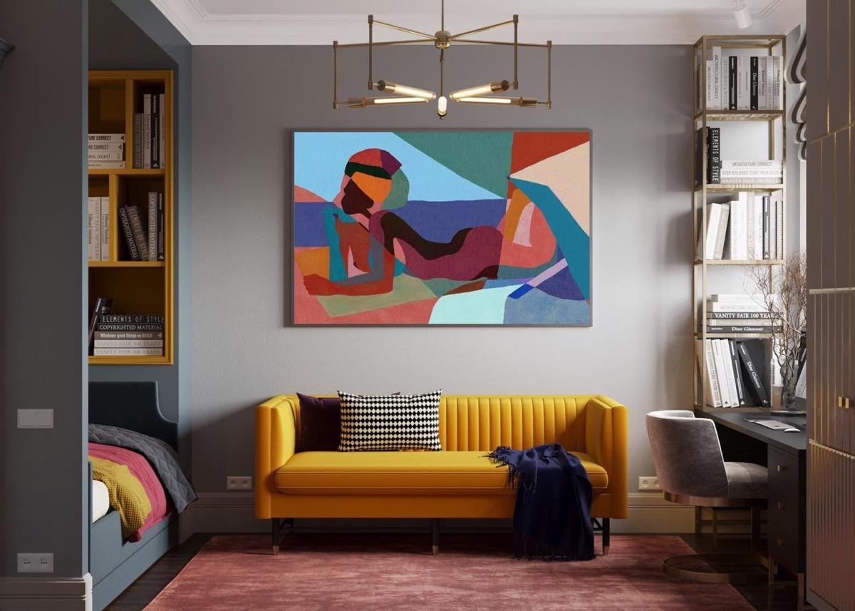 Ghế sofa cùng tranh treo tường mang đến thế giới đầy màu sắc cho phòng ngủ trẻ em