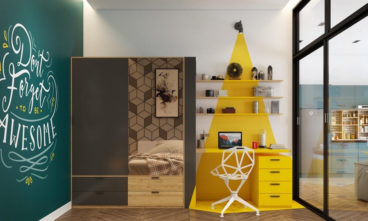 Để tránh căn phòng quá chói, bố mẹ chỉ trang trí màu sáng cho một vài nơi trong phòng