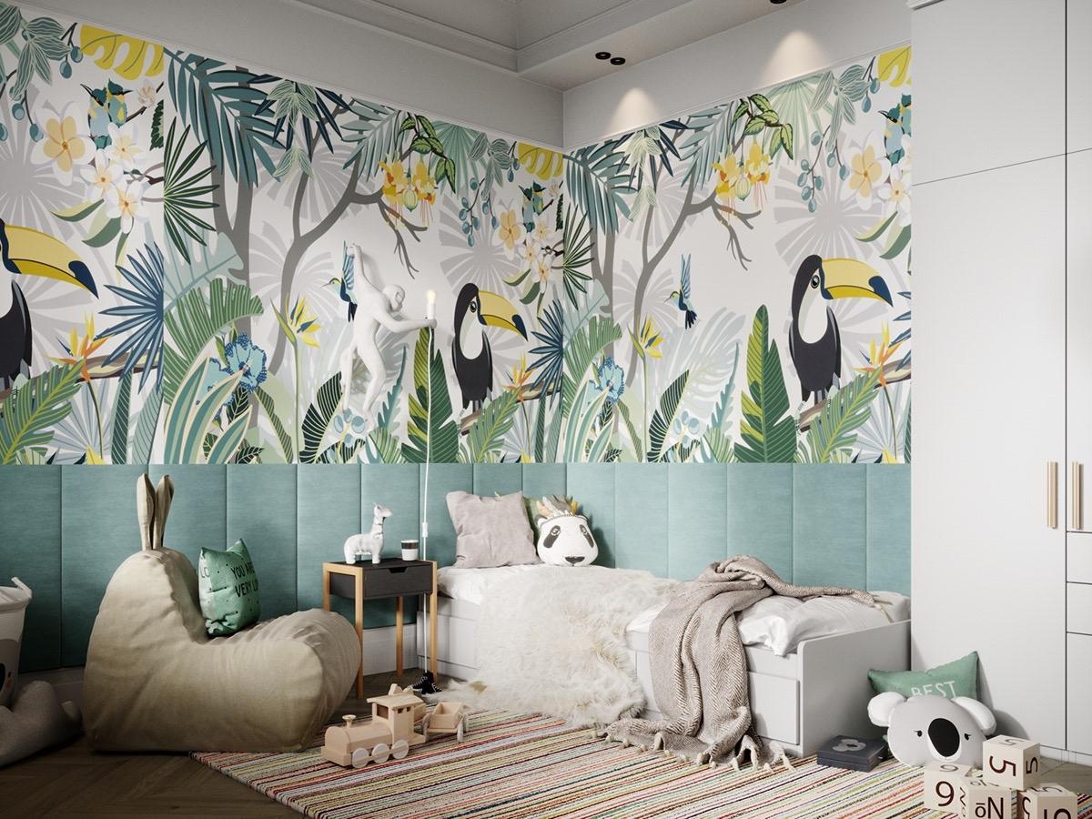 Giấy dán tường hình khu rừng nhiệt đới đặc sắc