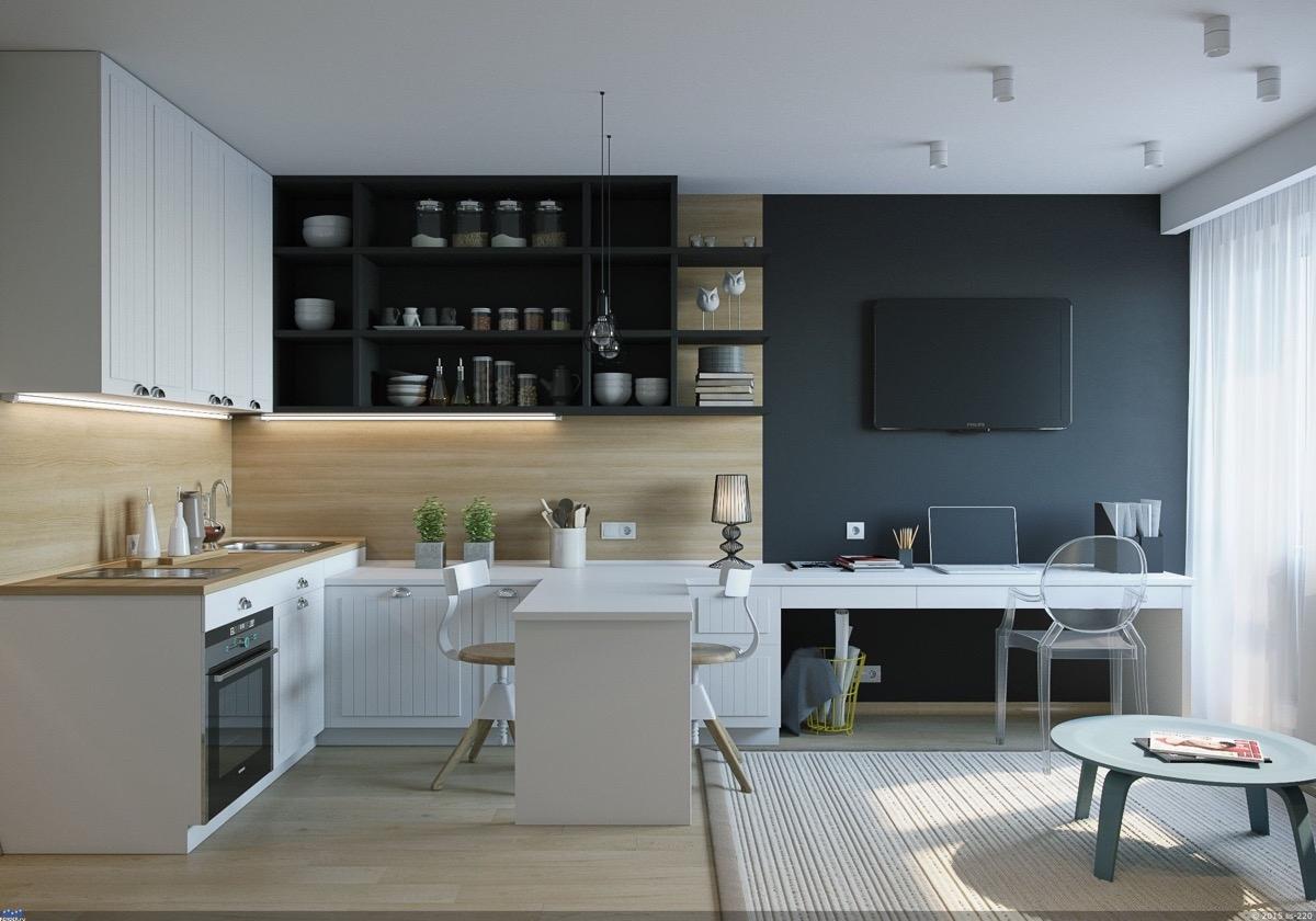 Chiếc bàn ăn hình chữ nhật có thể sử dụng luôn cho cả không gian làm việc khi cần