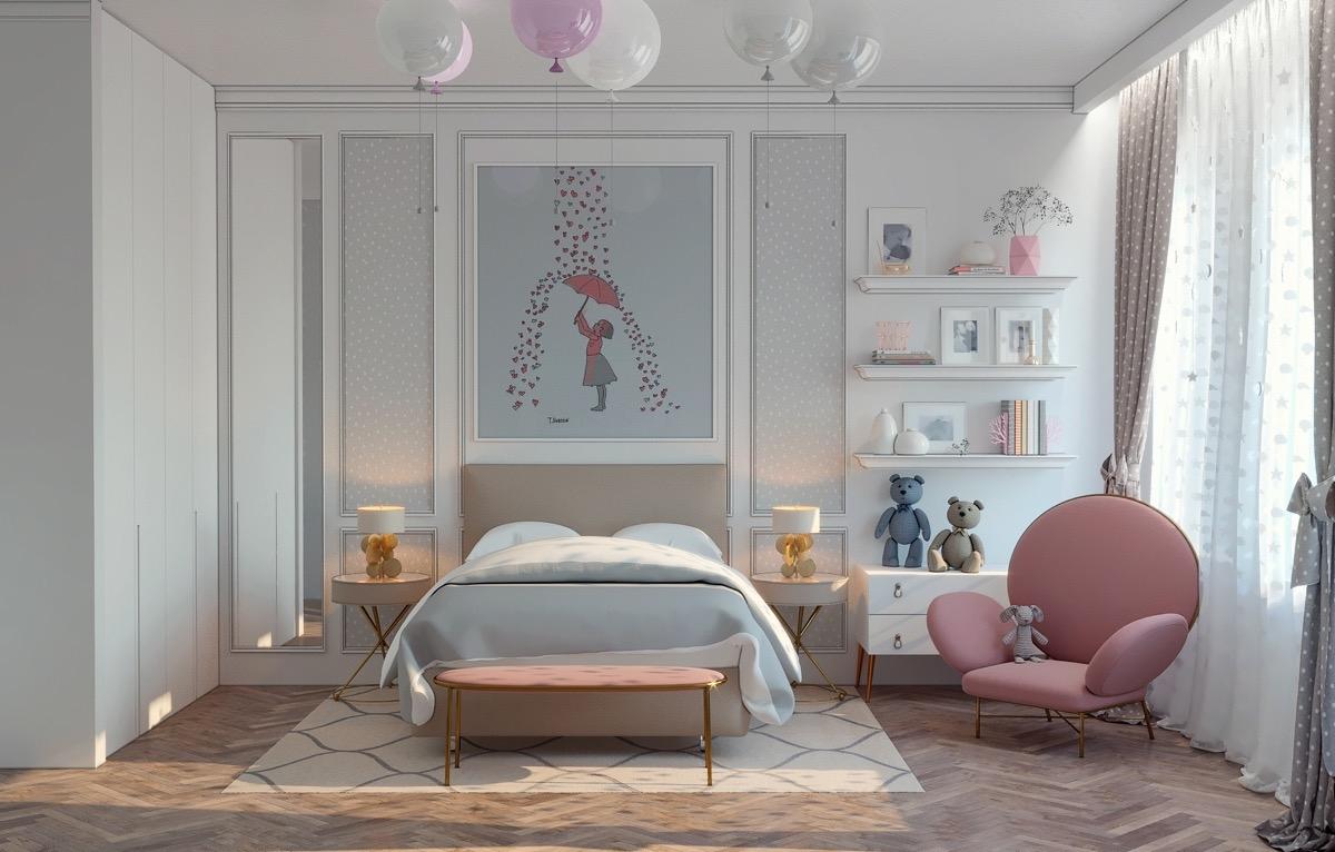 Thêm cảm giác gần gũi cho căn phòng của các cô công chúa nhỏ với chiếc ghế màu hồng