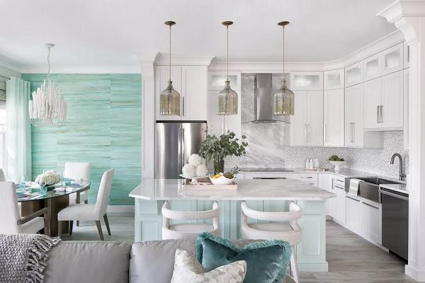 Màu ngọc lam dịu nhẹ trong phòng ăn và nhà bếp