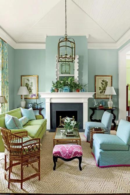Màu ngọc lam trong phòng khách