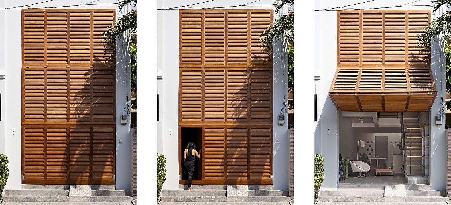 Mẫu cửa chớp gỗ ấn tượng với đa dạng hình thức mở cửa độc đáo