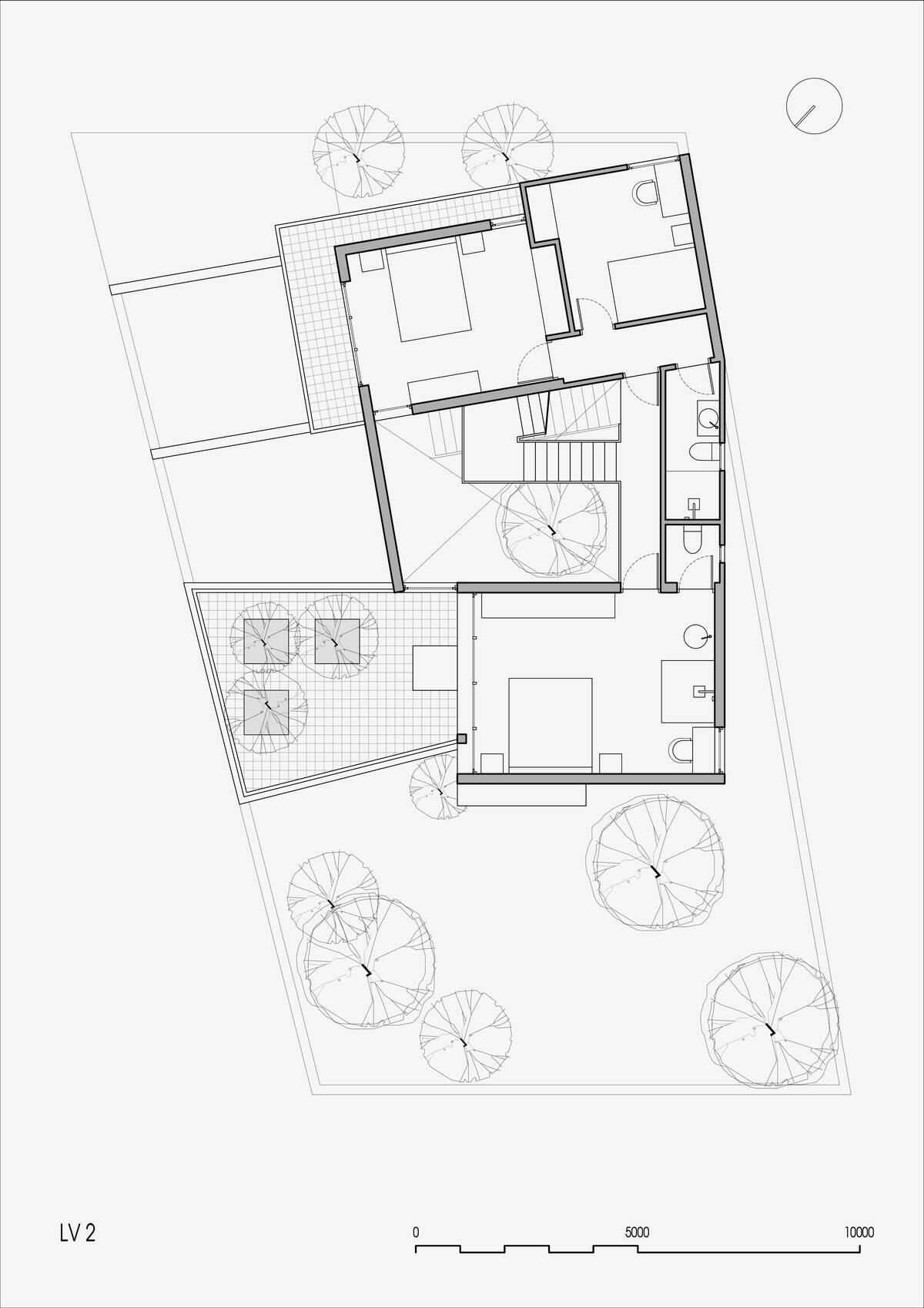 Bản vẽ mặt bằng công trình tại tầng hai