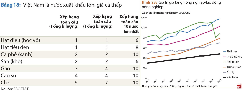 Nông sản Việt Nam xuất khẩu nhiều nhưng giá còn thấp, trị giá gia tăng/lao động nông nghiệp cũng vậy