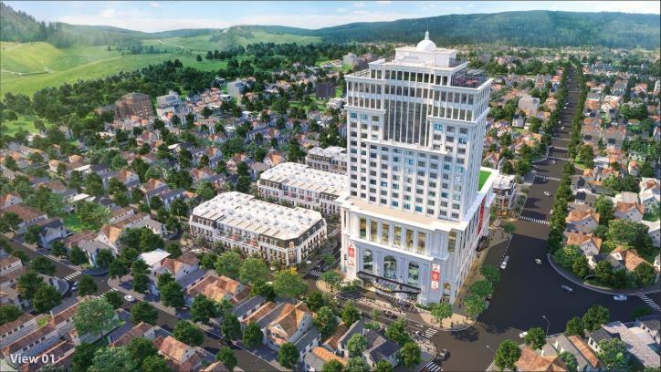 Phối cảnh Vincom Shophouse Hà Giang nổi bật với khách sạn Vinpearl 20 tầng
