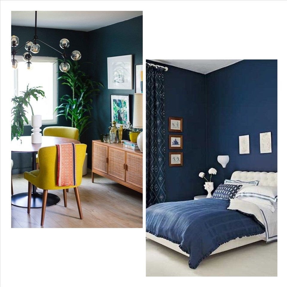 Màu xanh đậm mang lại cảm giác thanh bình và thư giãn cho căn phòng. Ảnh minh họa: Phương Duy