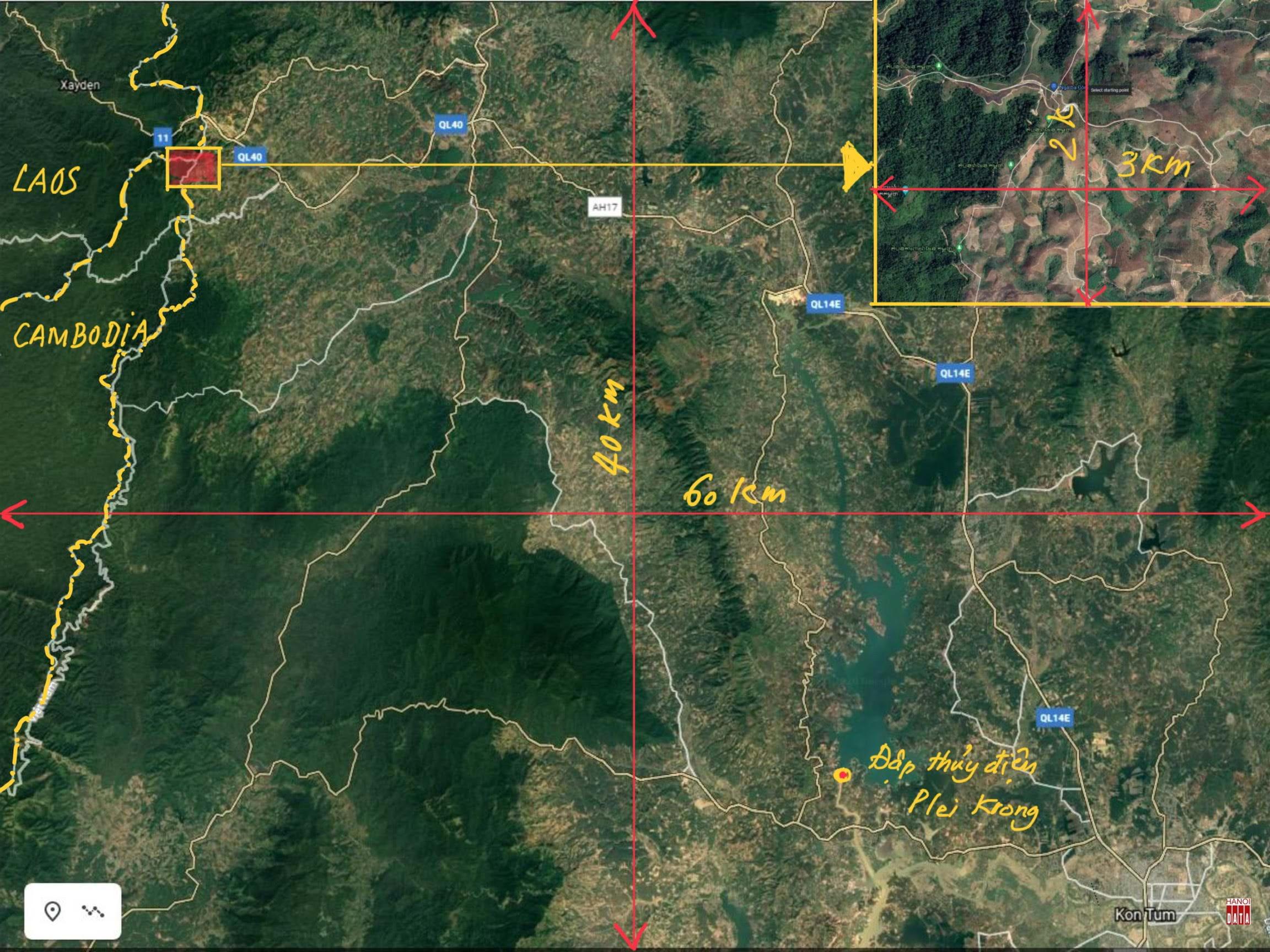 Bản đồ vệ tinh khu vực 2.400 km2 tại tỉnh Kon Tum. Nguồn: Google Earth; Đường biên giới chỉ để tham khảo