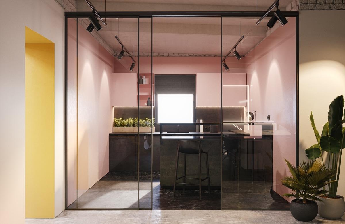 Màu hồng cùng ánh đèn trang trí sẽ tạo nên một không gian bếp đầy sự lung linh, ấn tượng