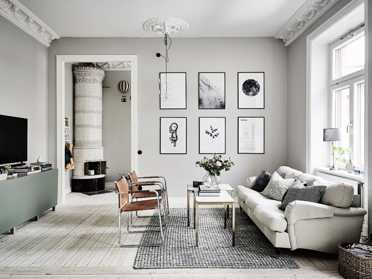 Phòng khách màu xám đầy thu hút khi mang nhiều phong cách phối hợp