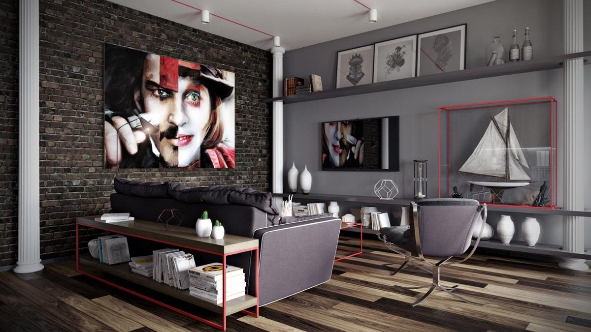 Màu xám tạo tông nền dễ dàng trang trí. Sàn gỗ, đi văng màu xám và các phụ kiện cùng 1 bức tranh trừu tượng lớn trên bức tường gạch lộ ra ngoài.
