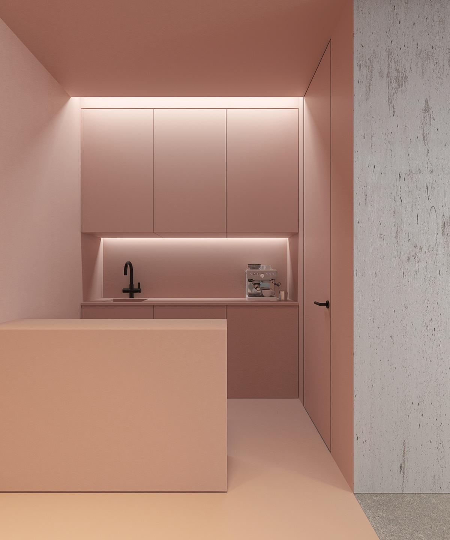 Một căn bếp tối giản với tông hồng phấn tạo sự lôi cuốn, thú vị