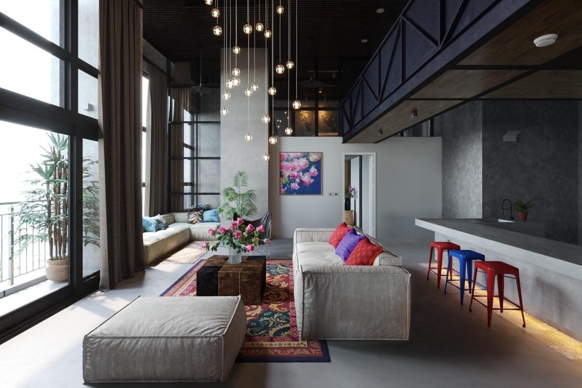 Một không gian đa sắc màu với chiếc băng ghế màu xám đầy ấn tượng