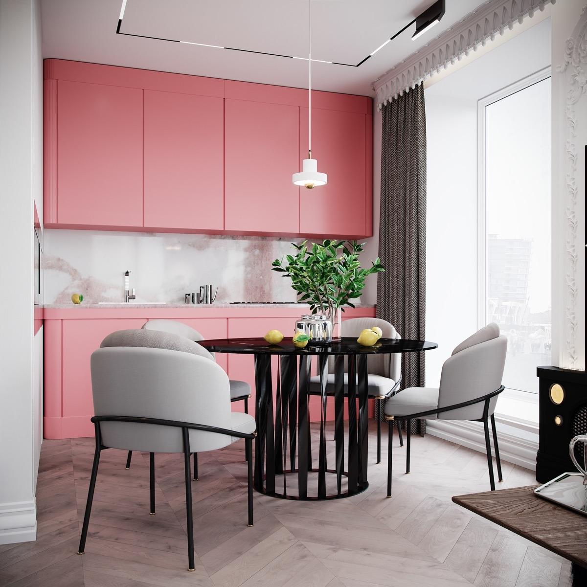 Tủ bếp màu hồng tươi sáng sẽ là điểm nhấn vô cùng đặc biệt, góp phần nên một bức tranh đầy màu sắc trong phòng bếp