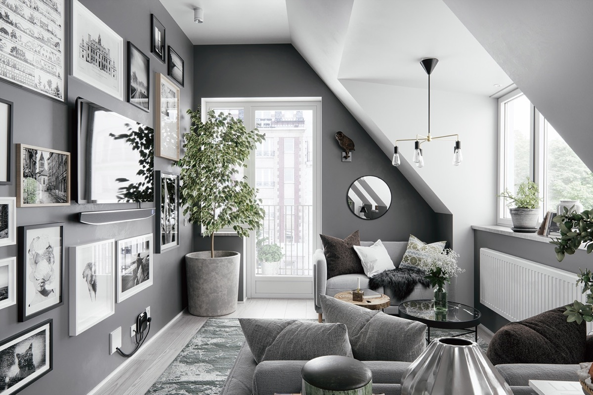 Nếu phòng khách nhà bạn bị hạn chế về mặt diện tích thì màu xám và trắng sẽ là một giải pháp trên cả tuyệt vời