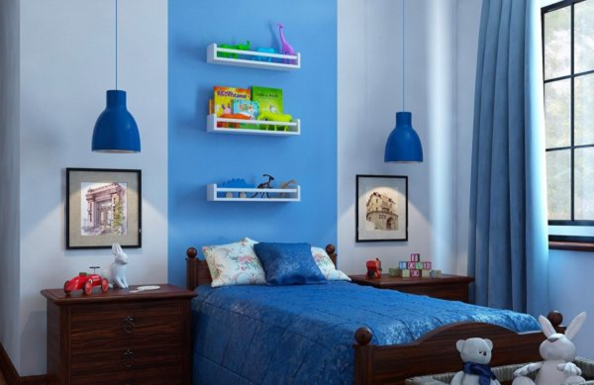 Một căn phòng ngủ hoàn hảo với thủ thuật bằng kệ treo tường
