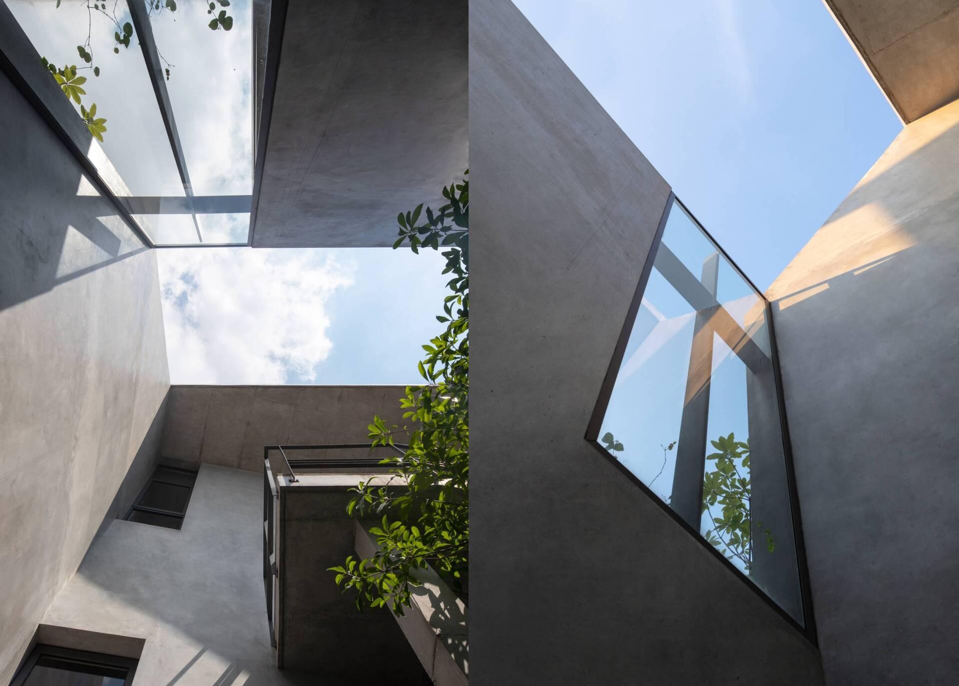 Các tấm kính lớn mang ánh sáng đi xuyên suốt nhà, xóa mờ ranh giới giữa không gian bên trong và bên ngoài