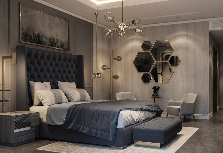 Sử dụng gương treo tường tạo chiều sâu cho phòng ngủ không có cửa sổ