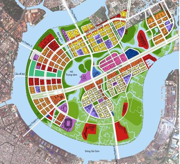 Bản đồ Thủ Thiêm - Khu trung tâm tài chính