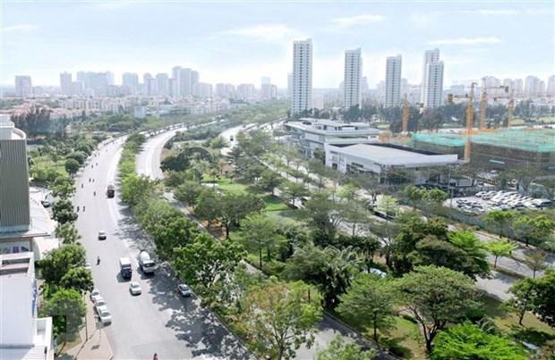 Đại lộ Nguyễn Văn Linh cạnh Khu đô thị Phú Mỹ Hưng, quận 7. (Ảnh: Quang Nhựt/TTXVN)