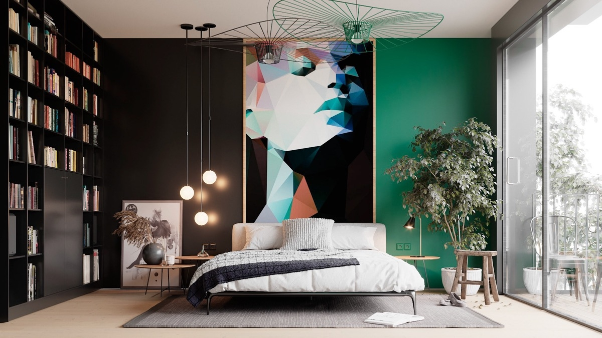Rất hiếm khi màu đen được sử dụng trong không gian ngủ nhưng đi kèm với một bức tranh nghệ thuật là sự lựa chọn ấn tượng