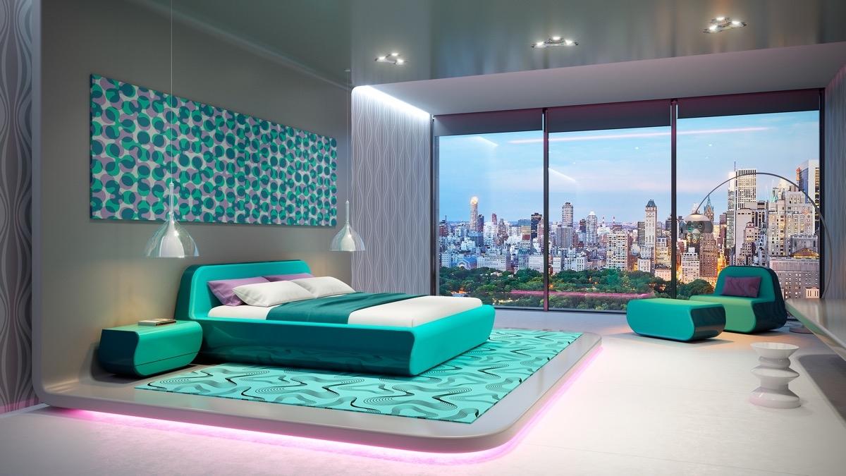 Sử dụng màu ngọc lam tươi sáng giúp phòng ngủ trở nên tươi tắn, đầy cảm hứng