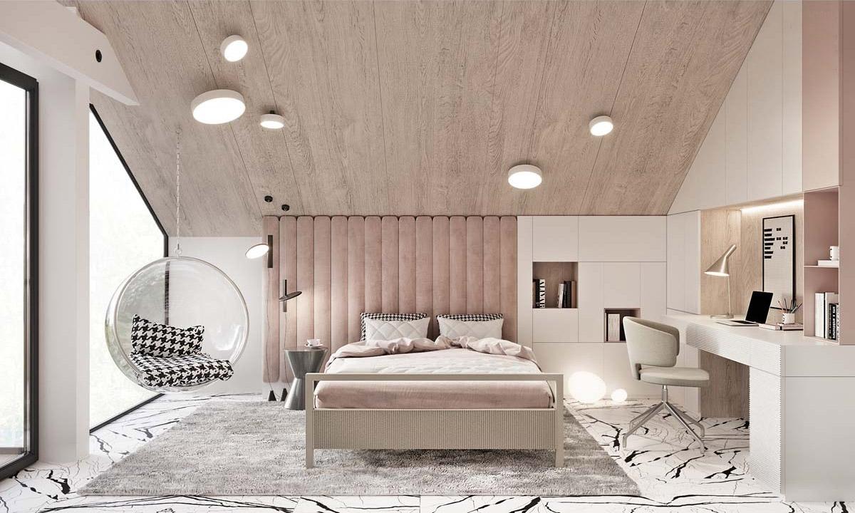 Một chiếc ghế đu kết hợp tông màu hồng phấn góp phần nên phòng ngủ nhẹ nhàng, êm dịu