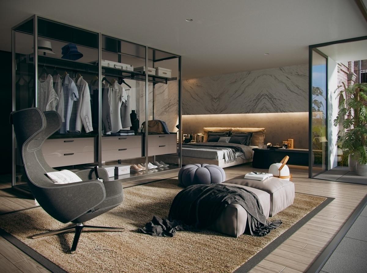 Đồ quần áo được phô bày trong tủ kính, đồng thời tạo ra một không gian tiếp khách giữa tủ quần áo và giường ngủ. Khá độc đáo nhưng vô cùng thú vị