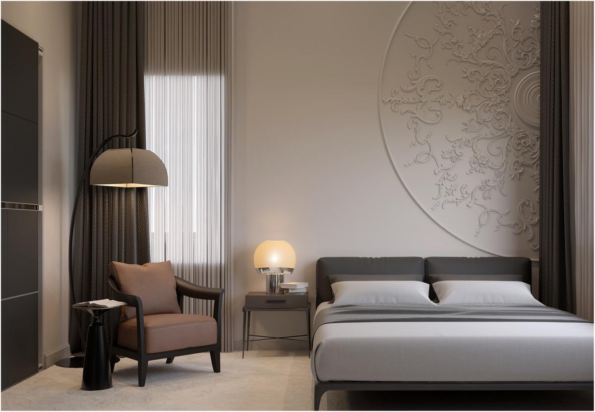 Các khuôn hình tròn sẽ là điểm nhấn ấn tượng trong phòng ngủ đặc biệt này