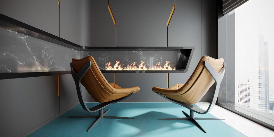 Phòng khách sang chảnh, ấm áp với hai chiếc ghế và lò sưởi đầy hiện đại chữ L