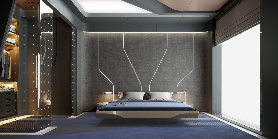 Phòng ngủ đậm chất công nghệ cao cùng những tia sáng phía đầu giường. Một không gian đầy sáng tạo và lôi cuốn