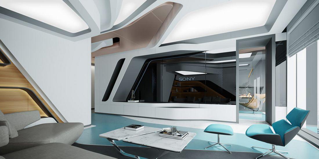 Kệ ti vi được chế tác có giá treo rất đặc biệt theo kiểu phòng điều khiển của phi thuyền