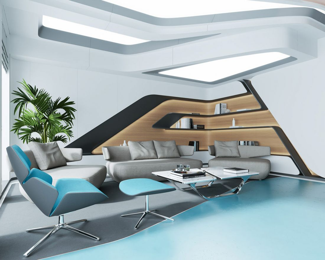 Sofa màu xám kết hợp với tủ sách tích hợp góp phần nên một căn phòng đầy cao cấp và sang chảnh