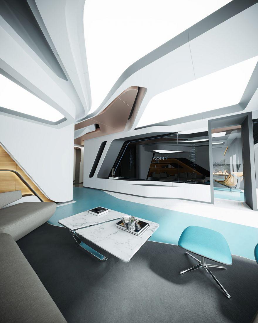 Trần nhà được thiết kế mang hình thù lạ mắt, ưu tiên yếu tố ánh sáng
