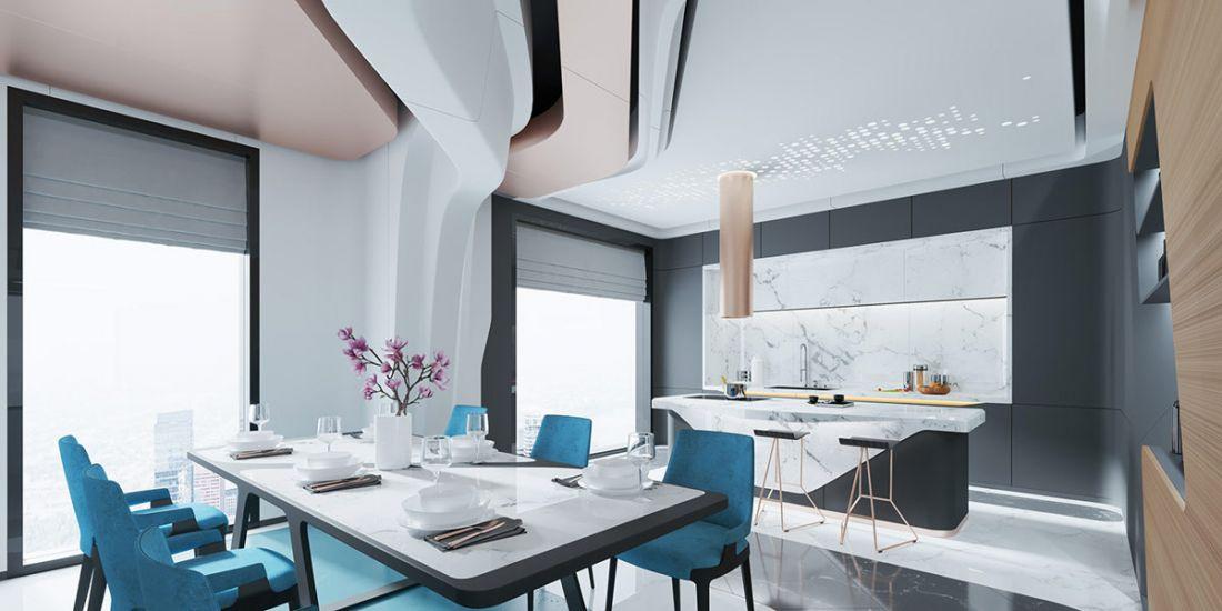 Một không gian ăn và bếp đầy trẻ trung và cuốn hút do sự kết hợp hài hòa, nhuần nhuyễn các màu sắc