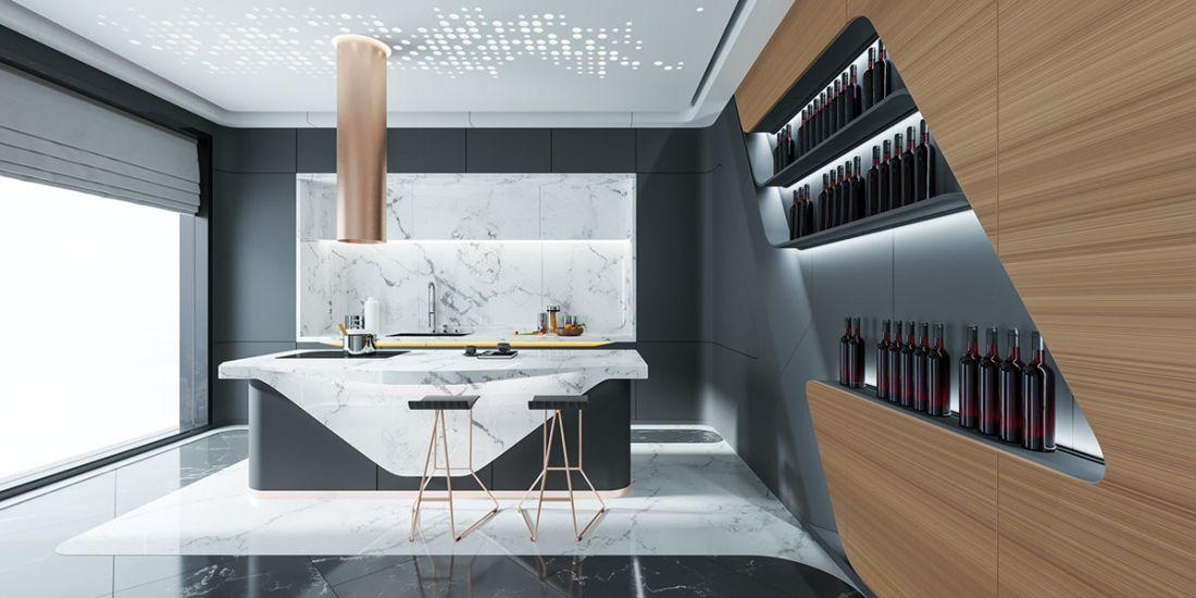 Một vách gỗ được lưu trữ và bảo quản rượu, một ý tưởng không tồi về tối ưu hóa không gian, đồng thời cũng tạo nên sự ấm áp, nhẹ nhàng