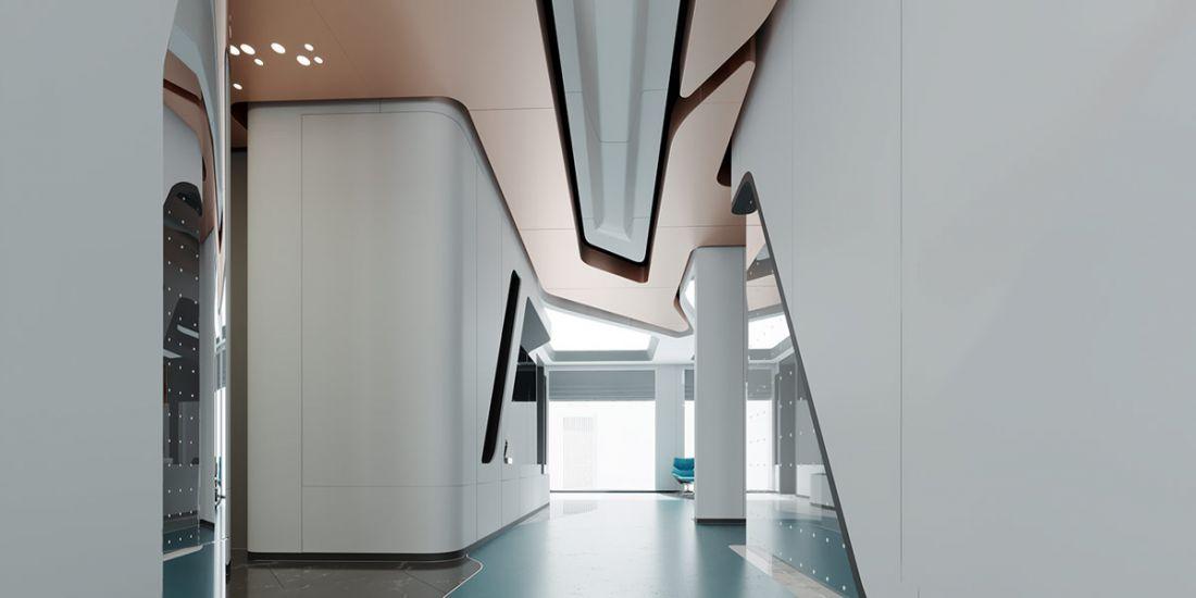 Những tấm trần và tường trông giống như các mảnh ghép thiết kế, điêu khắc tinh xảo trên con thuyền siêu sao khổng lồ