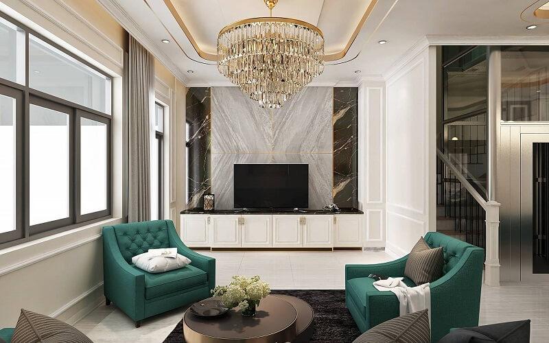 Phong cách nội thất bán cổ điển mang lại sự sang trọng cho phòng khách