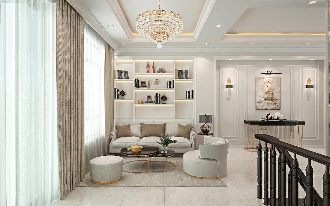Phòng khách được trang trí theo phong cách bán cổ điển với các đường gờ