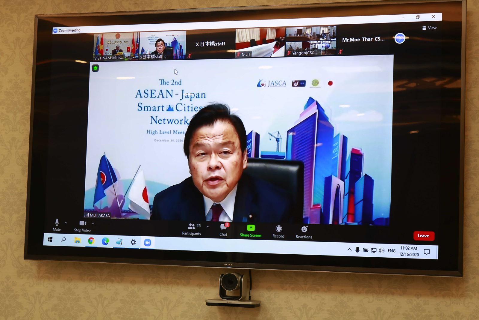 Bộ trưởng MLIT Nhật Bản Akaba Kazuyoshi phát biểu trực tuyến tại hội nghị