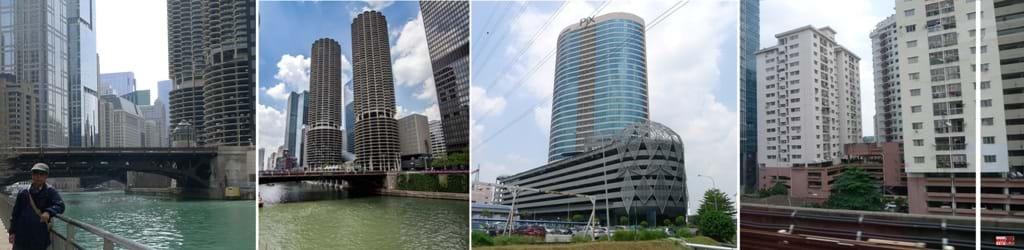 Nơi đỗ xe cũng là bất động sản có giá trị, nên ngay tại tòa nhà đắt tiền trung tâm Chicago (Mỹ) dành ra hàng chục tầng để đỗ gần 1.000 ô tô. Tác giả cận cảnh tầng đỗ xe và toàn cảnh tòa nhà; Tại Kualalumpure (Malaysia): các tòa nhà văn phòng và nhà ở bình dân cũng dành các tầng thấp làm nơi đỗ xe. Nguồn: TG