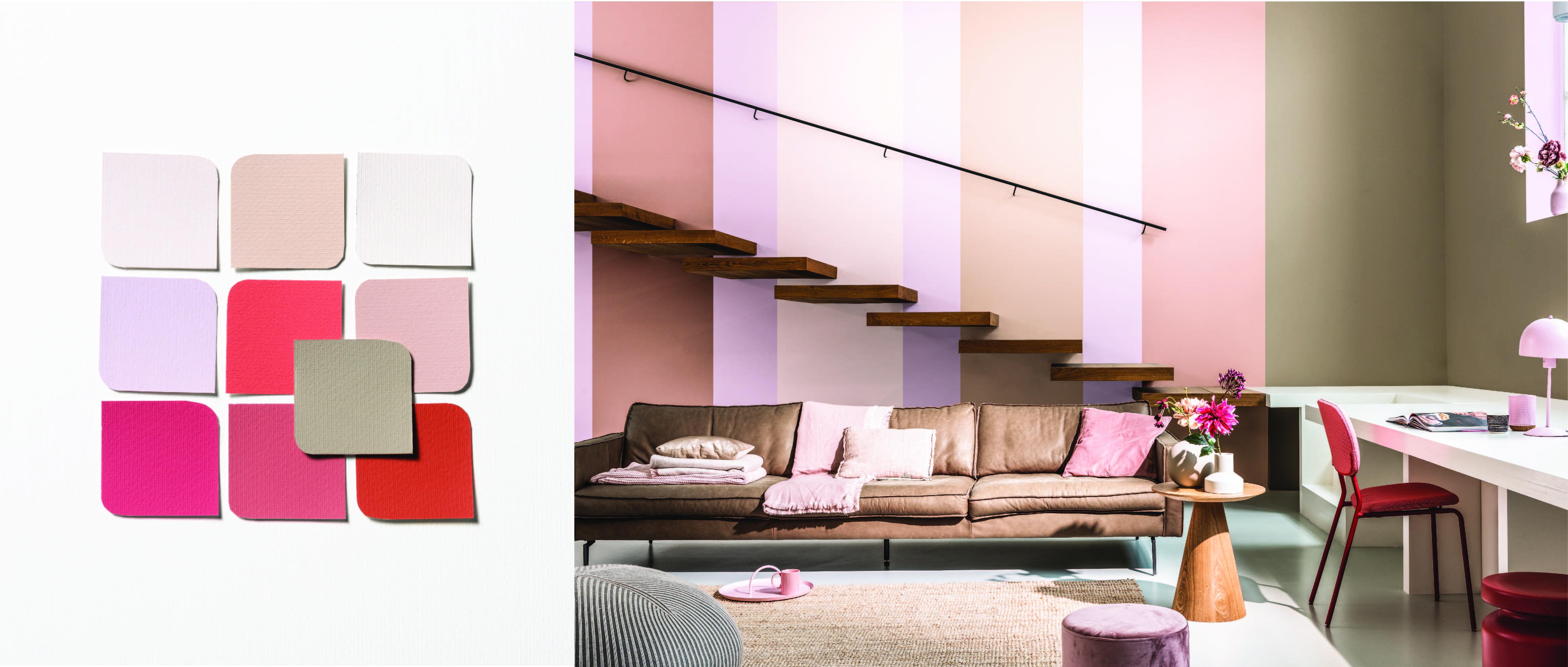 Bảng màu Phóng khoáng và một thiết kế ứng dụng cho không gian phòng khách tuy nhỏ nhưng sáng tạo. Dải màu được thể hiện thành những sọc dọc mới mẻ, đầy phóng khoáng, là nền cho thiết kế cầu thang phá cách.