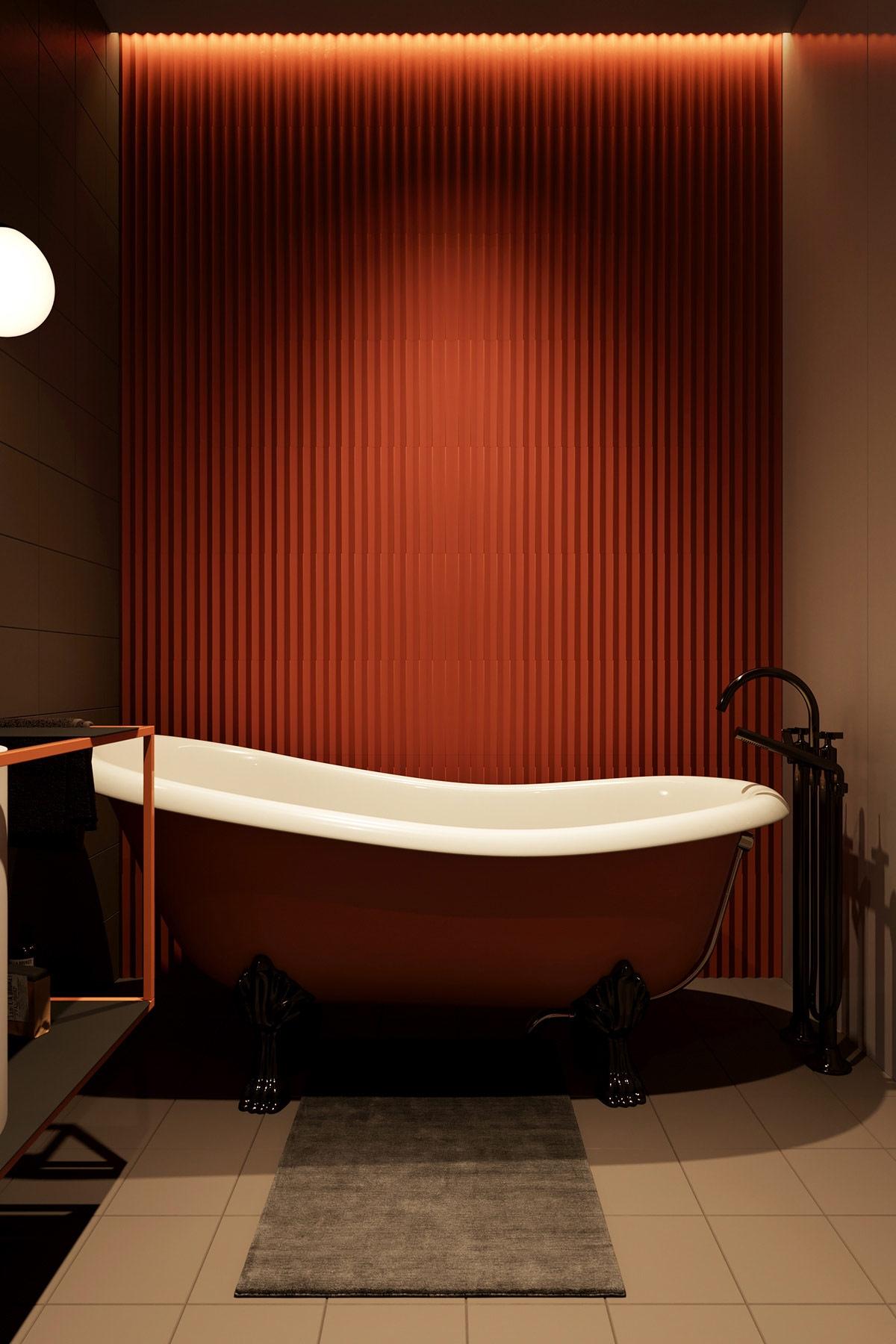 Chiếc bồn tắm màu cam quá nổi bật, là điểm nhấn nổi bật trong không gian