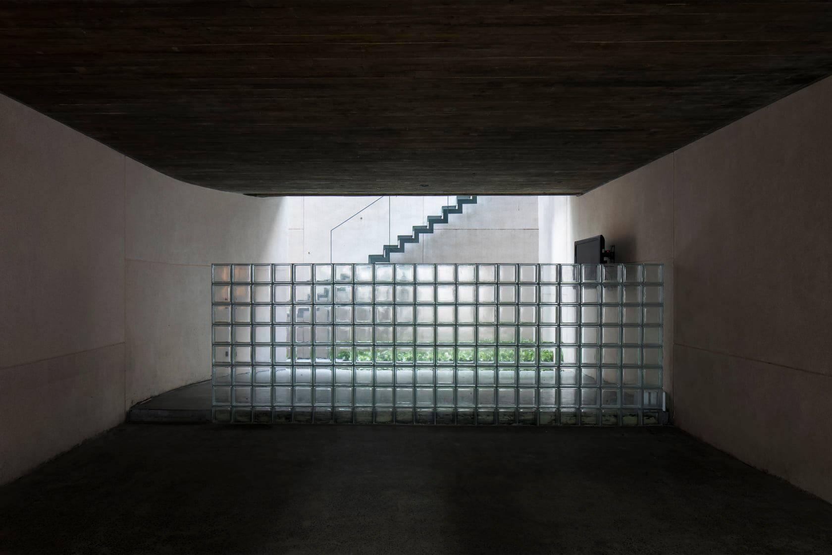 Tầng hầm là không gian của garage, phòng trà, phòng ngủ giúp việc, bếp và một sân vườn nhỏ