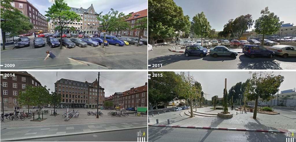 Các bãi đỗ xe được hoán cải thành không gian công cộng tại Yehuda ha-Levi St, Tel Aviv( Israel) và Regnbuepladsen, Copenhagen (Denmark), Nguồn: Google Street View do Melia Robinson thực hiện