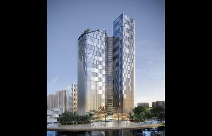 Nằm trong khuôn viên dự án Vinhomes Ocean Park, tòa nhà văn phòng Vinfast có quy mô xây dựng gồm 2 tòa tháp với 3 tầng hầm chung và 45 tầng cao, tổng diện tích sàn cho thuê là 115.000m2